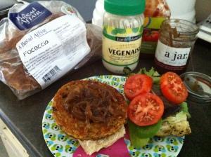 focaccia veggie burger
