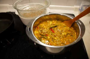 Coconut curry with Japanese veggies
